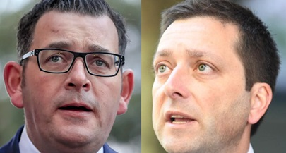 Victorian Premier Daniel Andrews and Liberal Party Leader Matthew Guy