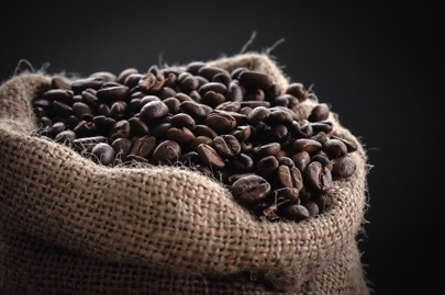 Coffee beans in a sack